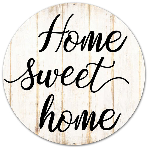 "12"" Dia Home Sweet Home - Cream/White/Black"