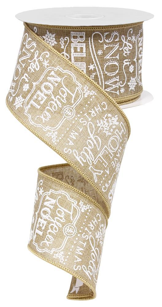 2.5in. x 10yd Light Beige White Christmas Sayings
