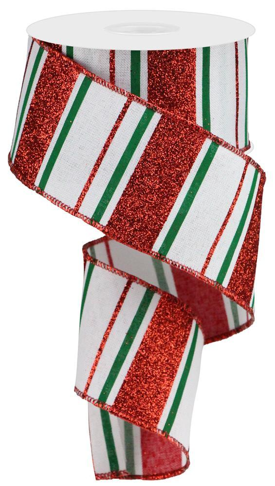 "2.5""x10-yd Glitter Stripes on Royal - White/Red/Emerald"
