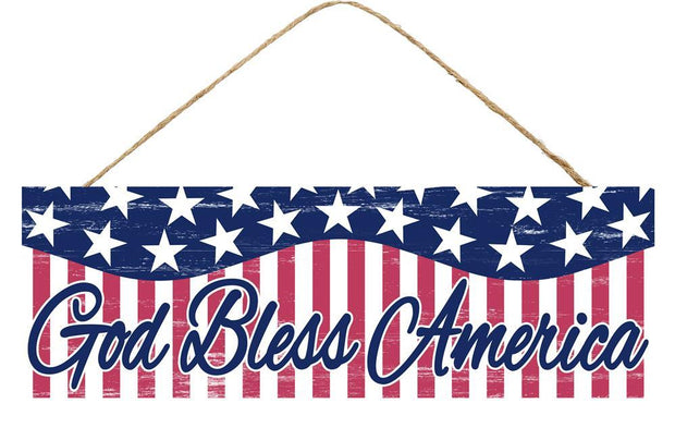 "15"" x 5"" - Red White Blue-God Bless America Sign"