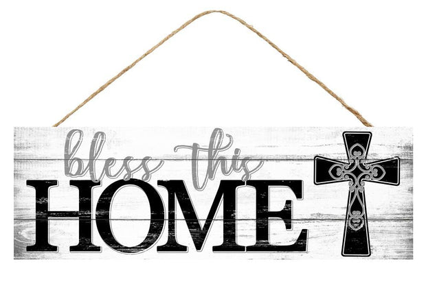 15in x 5in - Grey White & Black Bless This Home Cross Sign