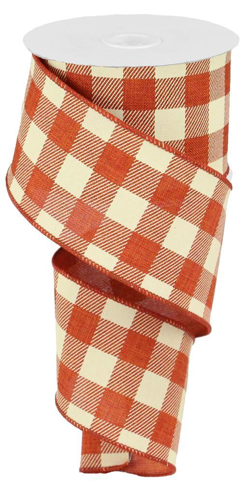 2.5in x 10yd - Rust/Ivory Plaid Striped Check on Royal Ribbon