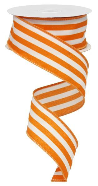 1.5in. x 10yd Orange White Vertical Stripe