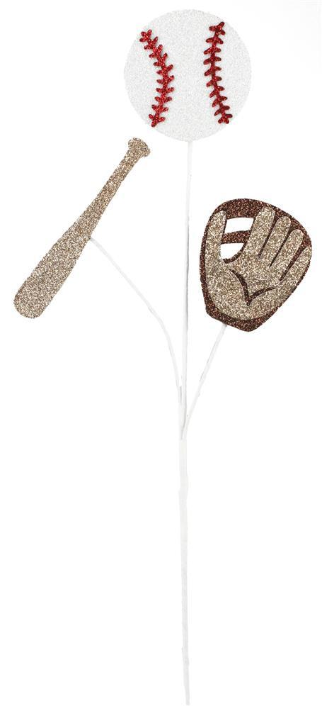 "25""L Glitter Baseball/Bat/Glove Pick"