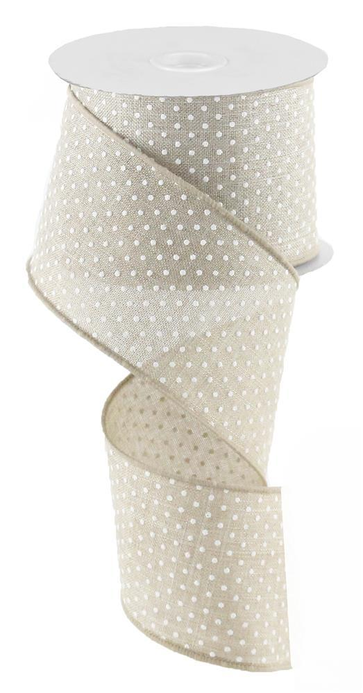 2.5in x 10yd - Natural White Raised Swiss Dots on Royal Ribbon