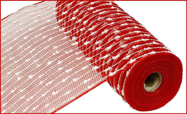 "10.5""x10yd Snowball Poly Mesh - Red/White"