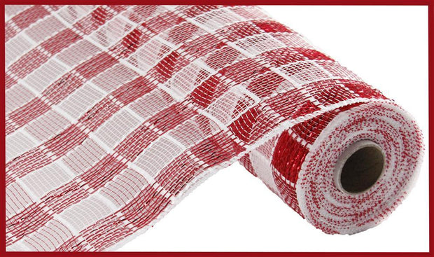 "10""x10yd Metallic Check Mesh - Red/White"