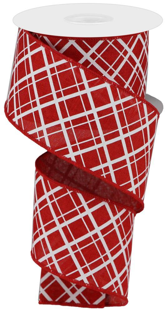 "2.5""x10yd Thick/Thin Diagonal Check - Red/White"