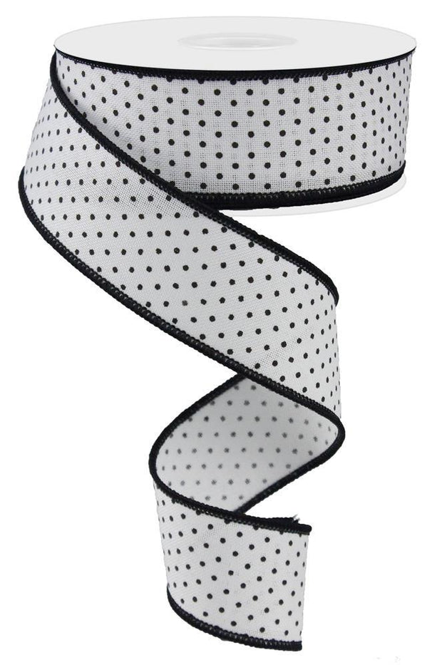 "1.5""x10yd Raised Swiss Dots - White/Black"
