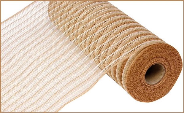 "10.5""x10yd Poly Faux Jute Mesh - Natural/Cream"