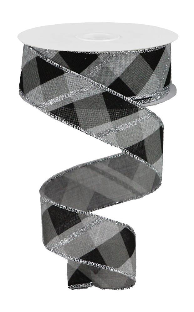 "1.5""x10yd Metallic Criss Cross - Grey/Black/Silver"