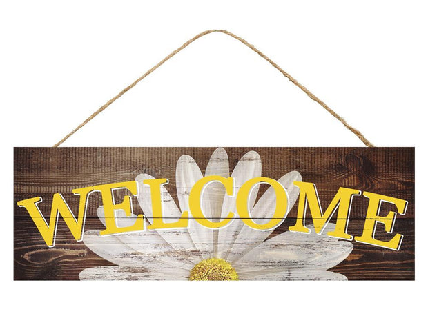 "15"" x 5"" Yelllow White Brown Welcome DaiseySign"