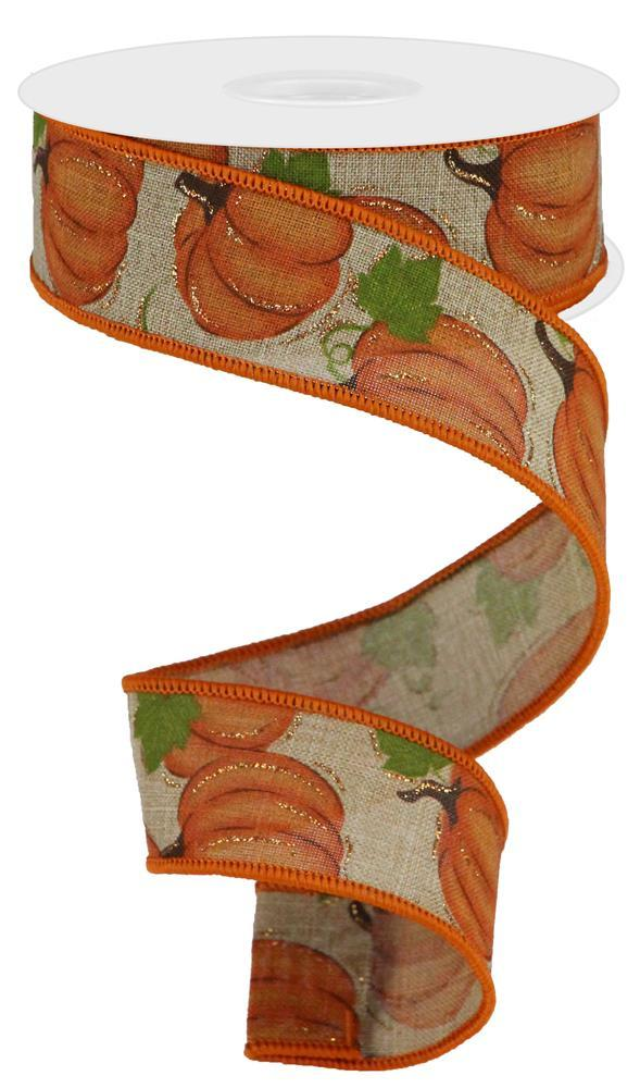 "1.5""x10yd Pumpkin Patch - Beige/Org/Moss"