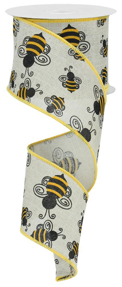 2.5in X 10yd  Lt Natural Yellow Black Bumble Bee Royal