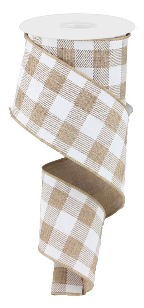 2.5in x 10yd - Beige White Plaid Striped Check on Royal Ribbon
