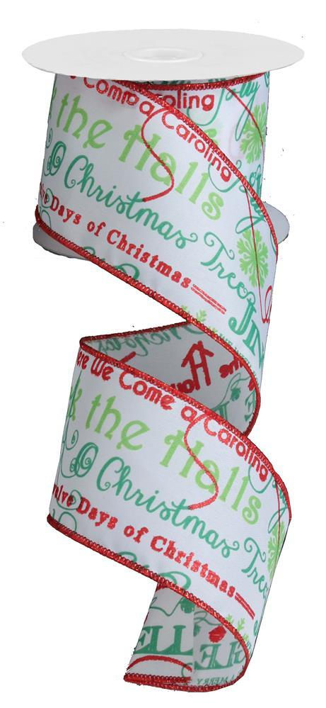 2.5in. x 10yd Glitter Red Emerald Lime Christmas Songs
