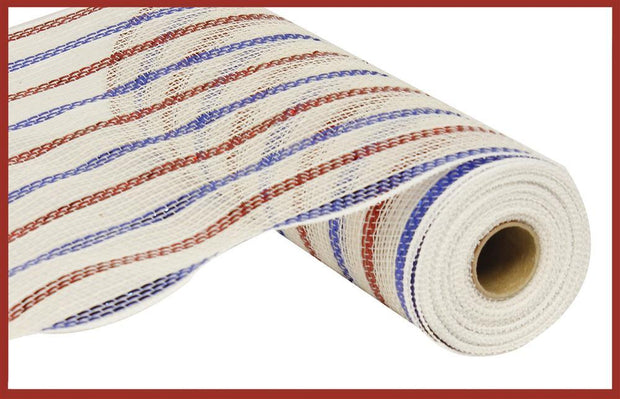 10in x 10yd - White Red Blue Metallic Poly Cotton Mesh