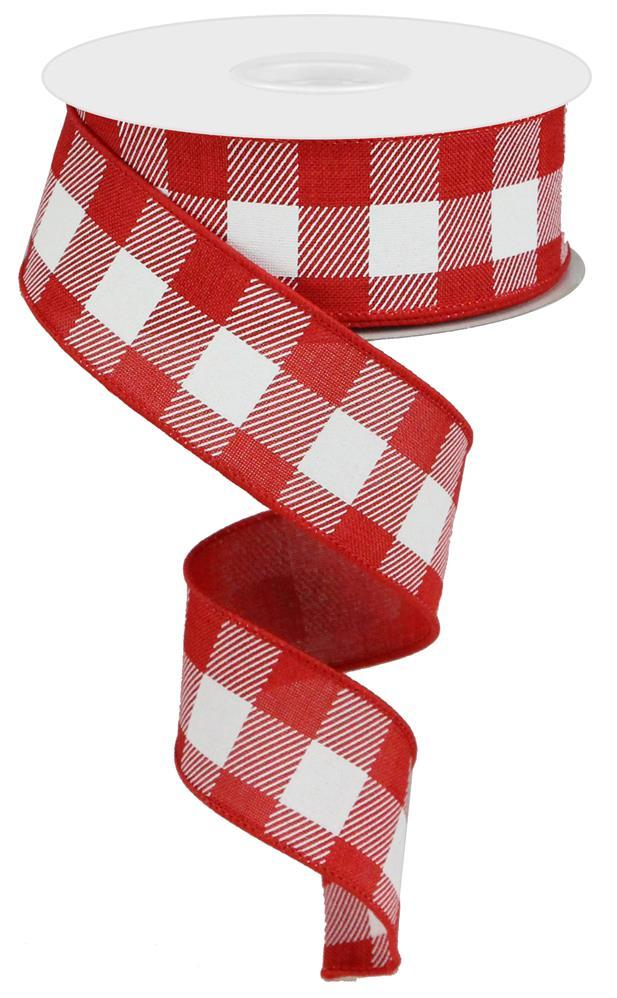 "1.5""x10yd Plaid Check - Red/White"