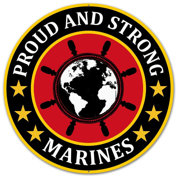 "12"" Dia Metal Proud and Strong Marine"
