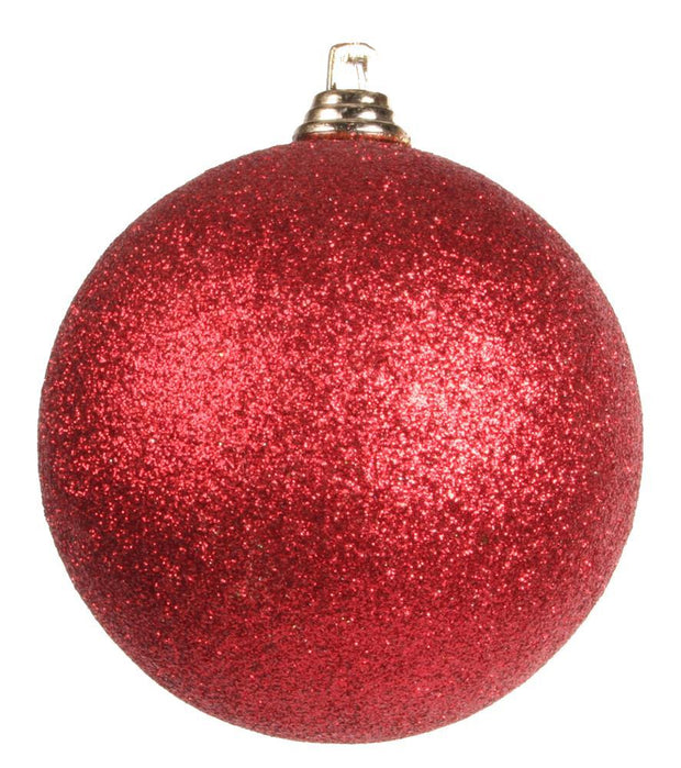 80mm-Red Glitter Ball Ornament  / dozen