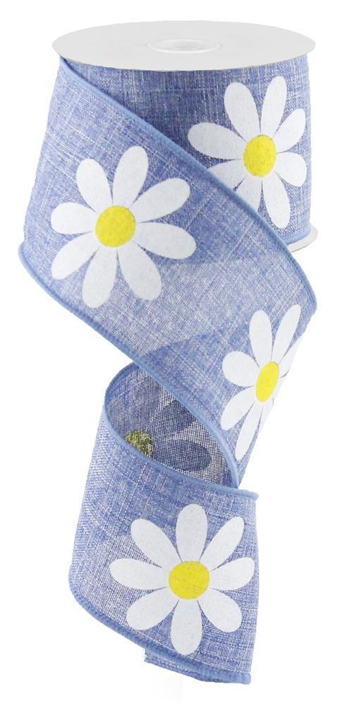 2.5in x 10yd - Blue Denim Yellow-Daisy Bold Royal Ribbon