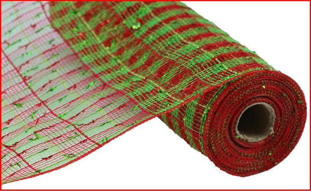 "10""x10yd Poly Laser w/Foil - Red/Lime"