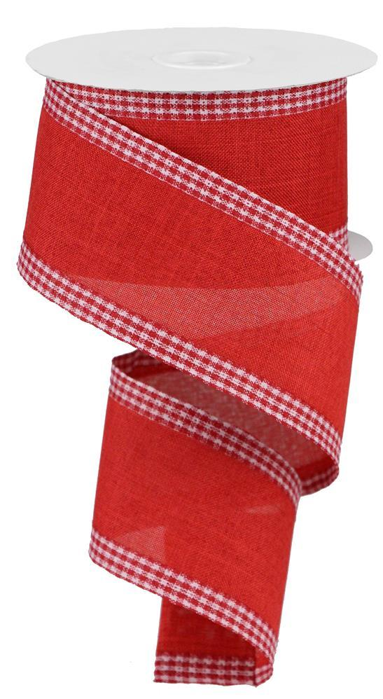 "2.5""x10yd Royal Burlap Gingham Edge - Red/White"