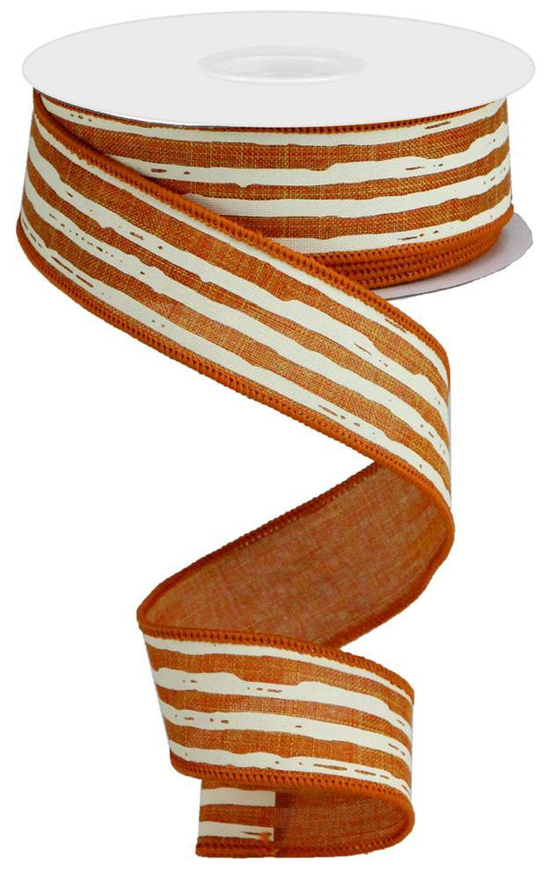 "1.5""x10yd Irregular Stripes on Royal - Talisman/Cream"