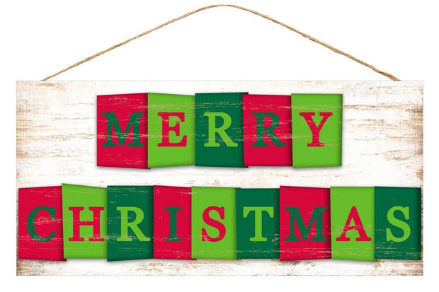 "12.5""-White Red Green-Merry Christmas Sign"