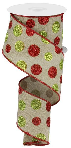 2.5in x 10yd - Beige Red Green-Multi Size Glitter Dots/Royal Ribbon