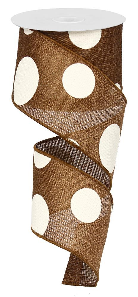 2.5in x 10yd - Brown Ivory Giant Dots Ribbon