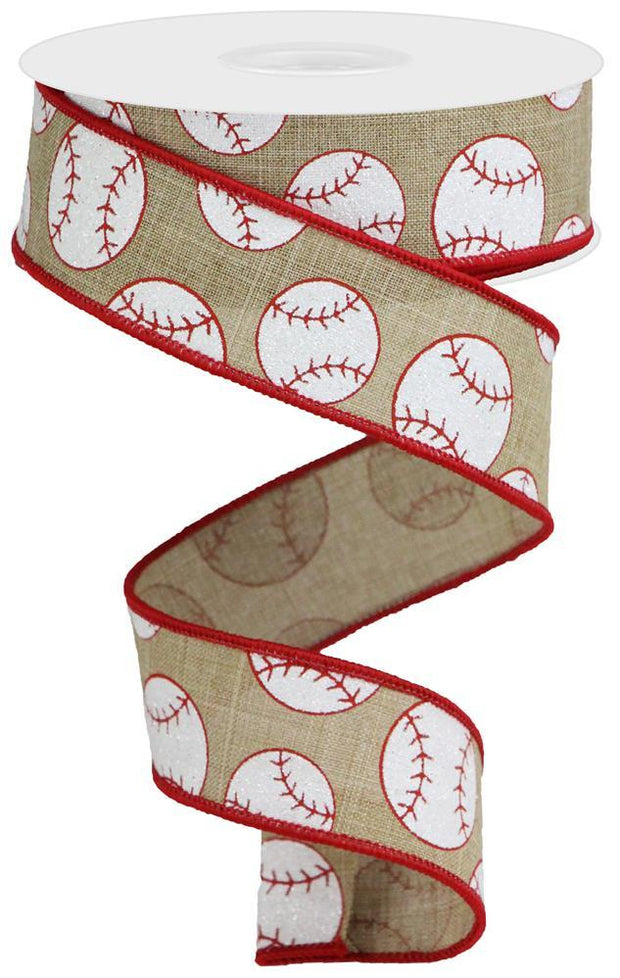 "1.5""x10yd Glitter Baseball on Royal - Beige/White/Red"