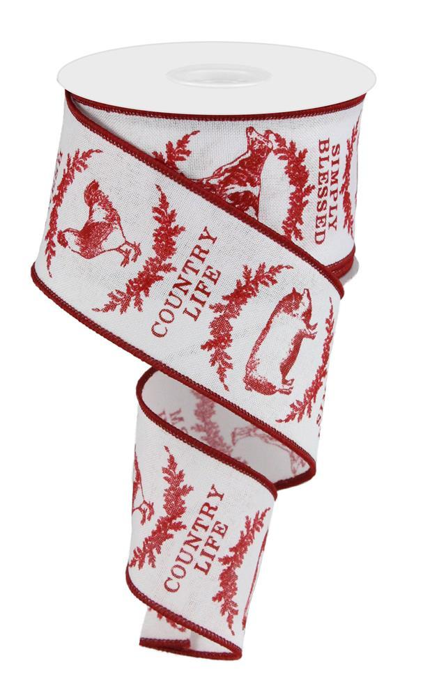2.5in x 10yd -  Red White Farmhouse Animals Ribbon