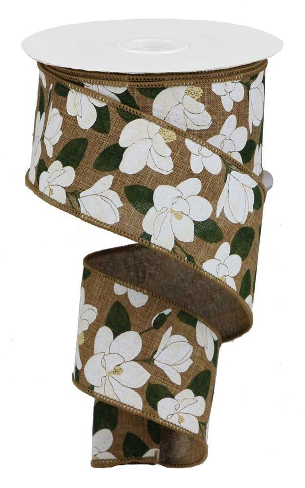 2.5in x 10yd - Magnolia Flower On Dark Tan Royal Ribbon