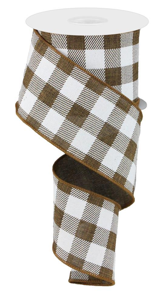 2.5in x 10yd - Brown White Plaid Check on Royal Ribbon