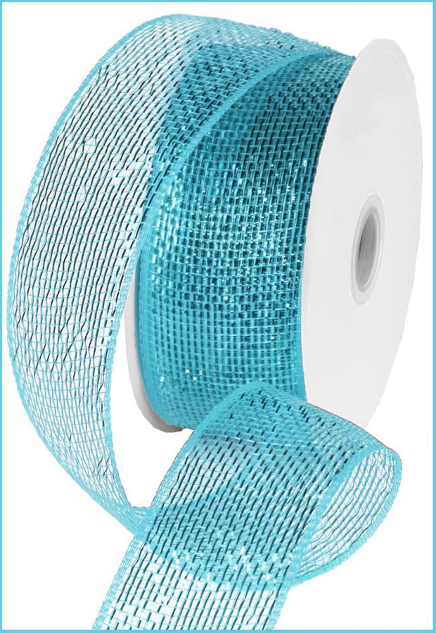 2.5in x 25yd - Turquoise Mesh Metallic Ribbon
