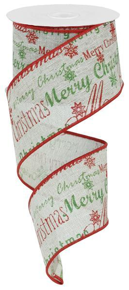2.5in x 10yd - Merry Christmas Ribbon
