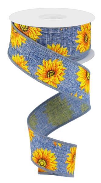 1.5in x 10yd - Denim Orange Yellow Brown Sunflower Ribbon
