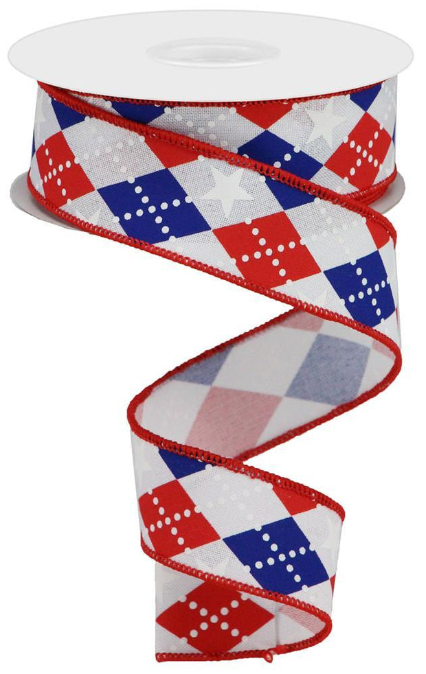 "1.5""x10yd Argle Stars on Royal - White/Red/Blue"