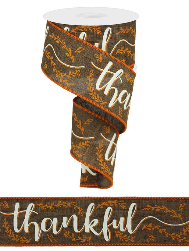 "2.5""x10yd Thankful on Royal - Brown/Cream/Oange"