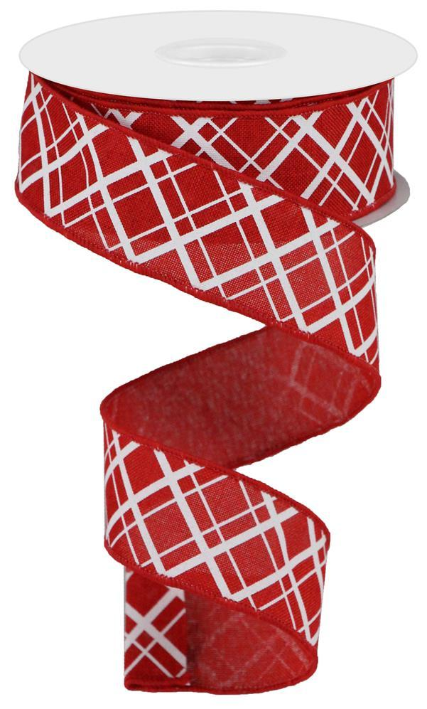 "1.5""x10yd Thick/Thin Diagonal Check - Red/White"