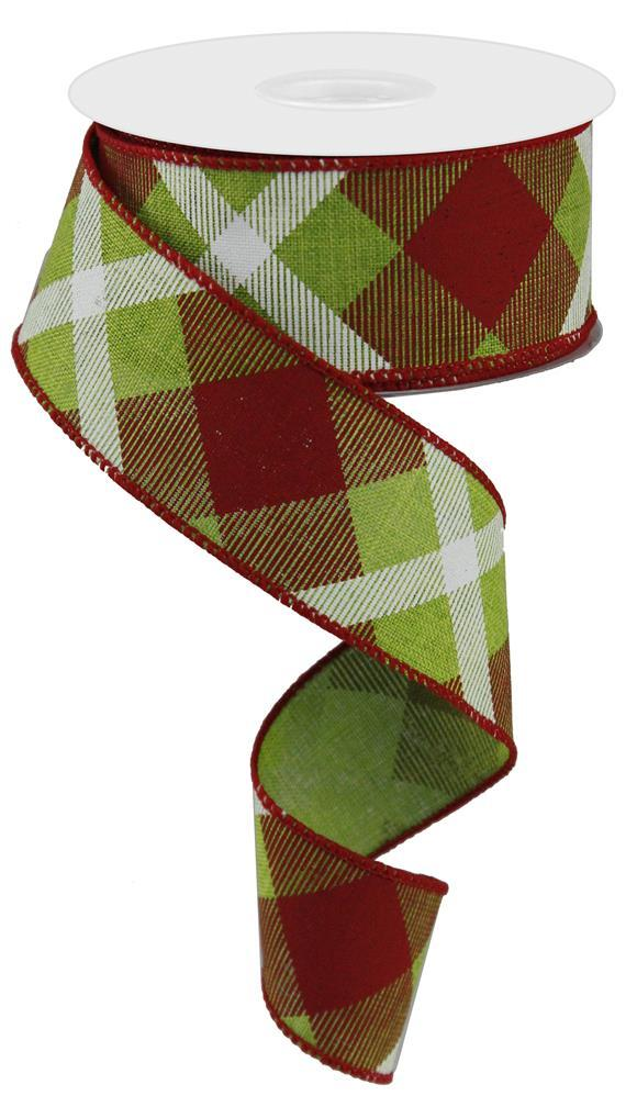 1.5in x 10yd - Green Red White Printed Plaid on Royal Ribbon