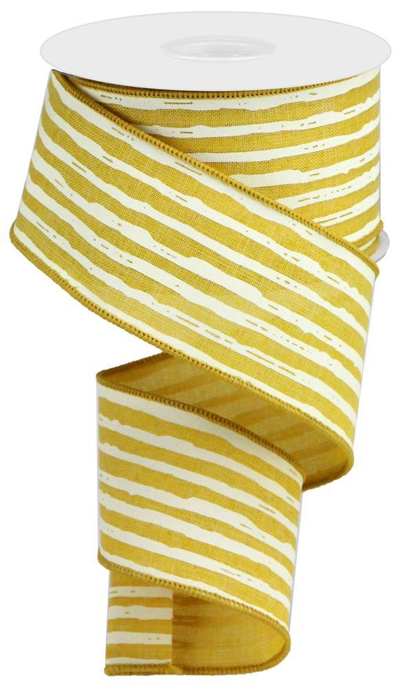 "2.5""X10yd Irregular Stripes On Royal - Mustard/Cream"
