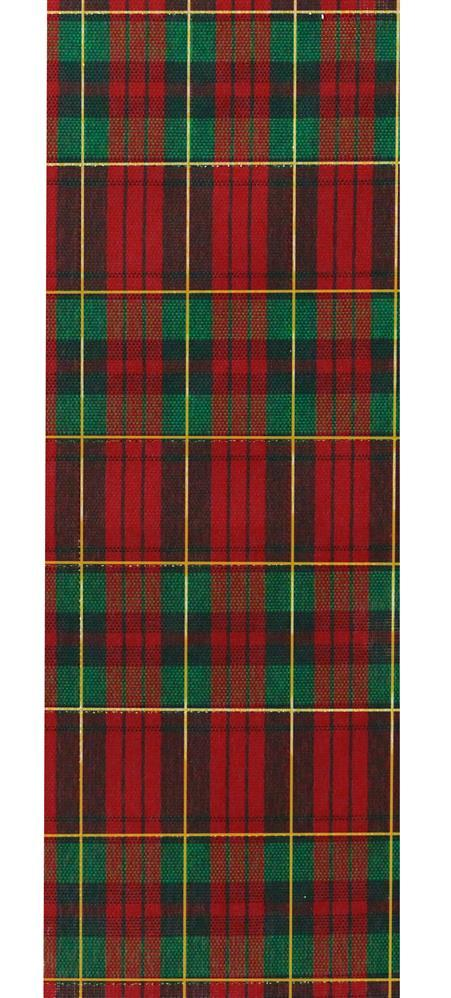 2.5in. x 10yd Red Green Metallic Gold Plaid
