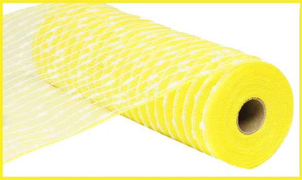10in x 10yd Cotton Ball Poly Jute Mesh - Yellow/White