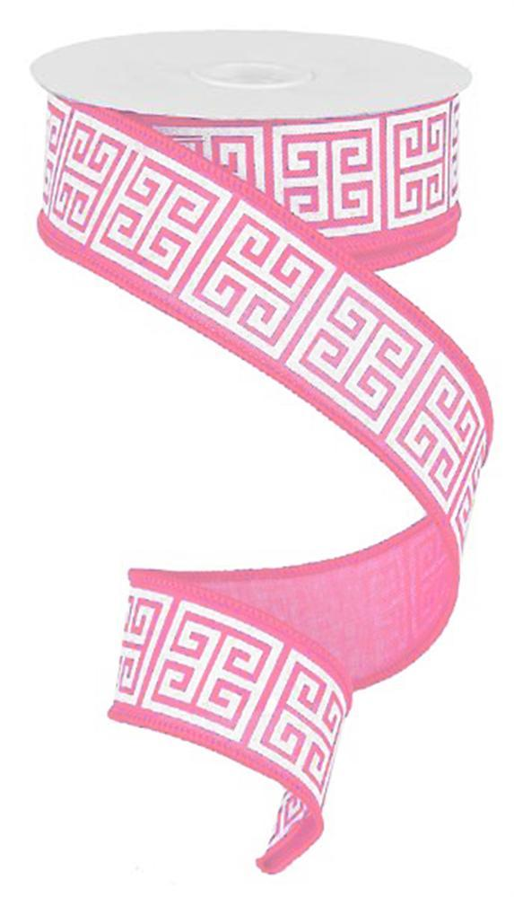 1.5in x 10yd - Pink/White Greek Keys Ribbon