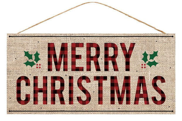 "12.5""x6""H Merry Christmas Burlap Sign"