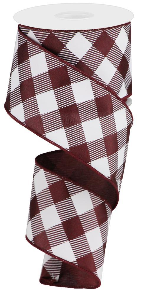 "2.5""X10yd Diagonal Check On Satin - Maroon/White"