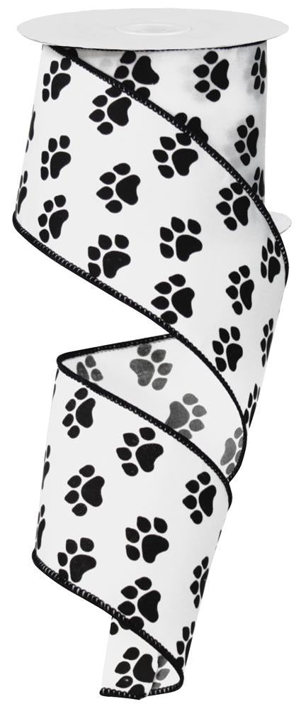 2.5in x 10yd - White Black Dog Paws Ribbon