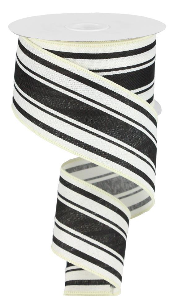 2.5in x 10yd - Ivory Black Farmhouse Stripe on Royal Ribbon